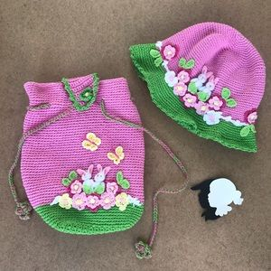 Hand & Heart crochet bunny backpack and hat